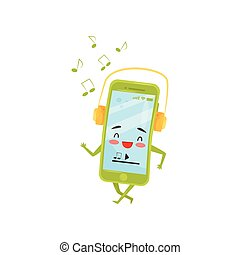 Funny humanized smartphone walking and listening music with headphones. Cartoon character. Flat vector design