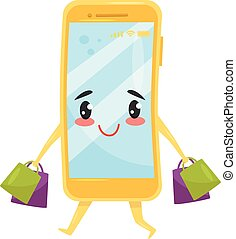 Funny humanized smartphone walking with shopping bags. Online buying. Cute cartoon character. Flat vector icon