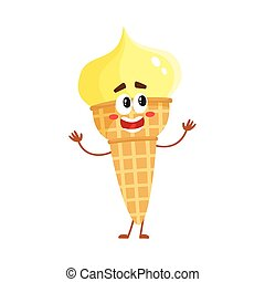 Funny ice cream character in wafer cone with smiling face