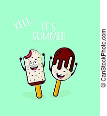 funny ice cream characters. vector illustration