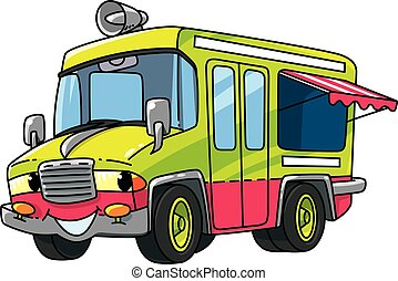 Ice cream truck or van or small bus. Small funny vector cute car with eyes and mouth. Children vector illustration. Wagon