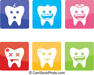 Funny icons for pediatric dentistry - Funny colorful icons...