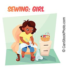 Funny illustration african american girl sewing - Little...