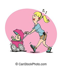 Funny Illustration mom care baby newborn. Multitask mom....