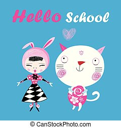 Funny illustration of a hello school with a girl and a cat