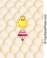 chick in the Easter eggs