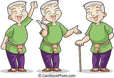 old man cartoon character set