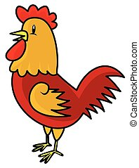 Funny Illustration of Rooster