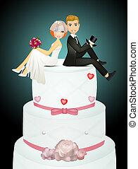 funny illustration of wedding cake
