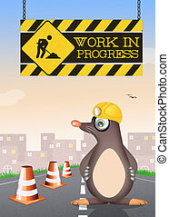 funny illustration of work in progress