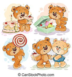 Funny illustrations with teddy bear on the theme of love for sweets