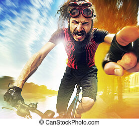 Funny image of a shouting cyclist - Funny image of a ...