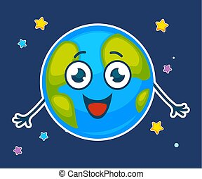Funny image of planet Earth smiling vector illustration