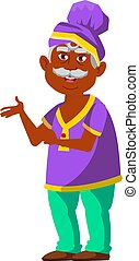 funny indian man pensioner showing coins collection at home cartoon vector