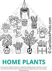 Funny indoor and outdoor plants. Doodle monochrome flowers, cactus, and succulents in pots with editable text. Vector illustration. Natural design elements can be used for postcards, banners, websites or ads.