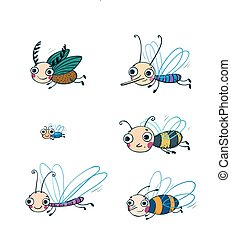 Funny insect cartoon set.