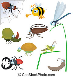 Funny insect set #2 isolated on white background