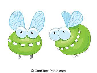 small green midge with big teeth