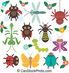 Funny insects set Spider butterfly caterpillar dragonfly mantis beetle wasp ladybugs on white background with flowers and leaves. Vector