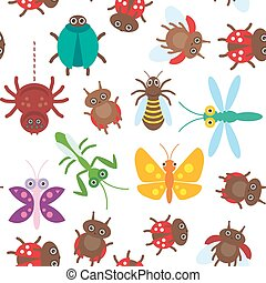 Funny insects Spider butterfly dragonfly mantis beetle wasp ladybugs seamless pattern on white background. Vector
