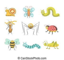 Funny insects with cheerful facesisolated illustrations set