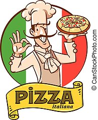 Funny italian chef with pizza. Emblem design - Chef with...