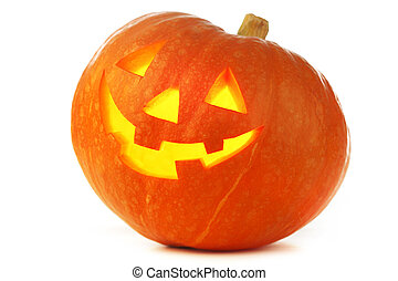 Funny Jack O Lantern halloween pumpkin with candle light...