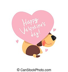 Funny Jack Russell Terrier dog holding a pink heart with inscription Happy Valentines Day, cute Valentine animal character vector Illustration