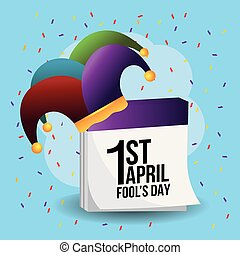 funny joker hat with calendar to fools day