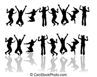 illustration of jumping teenager silhouettes