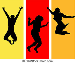 funny jumping teens - vector illustration of jumping people ...