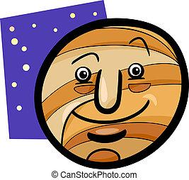 funny Jupiter planet cartoon illustration - Cartoon...