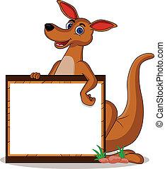 funny kangaroo with blank board - vector illustration of...
