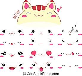 Funny kawaii style cat emoticon icon set