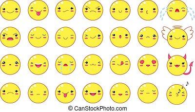 Funny kawaii style emoticon smileys set
