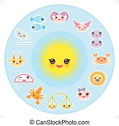 Funny Kawaii Sun, zodiac sign, astrological stiker set virgo, aries, gemini, cancer, aquarius, taurus, leo, libra, sagittarius,  fish, capricorn, scorpio bright blue background. Vector