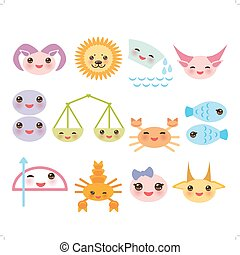 Funny Kawaii zodiac sign, astrological set virgo aries, gemini, cancer aquarius taurus leo, libra, sagittarius,  fish, capricorn, scorpio. Muzzle pink cheeks, winking eyes on white background. Vector