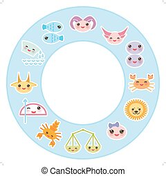 Funny Kawaii zodiac sign, astrological stiker set  virgo, aries, gemini, cancer, aquarius, taurus, leo, libra, sagittarius,  fish, capricorn, scorpio bright blue background. Vector