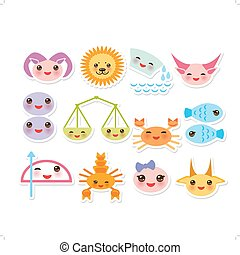 Funny Kawaii zodiac sign, astrological stiker set  virgo, aries, gemini, cancer, aquarius, taurus, leo, libra, sagittarius,  fish, capricorn, scorpio. Vector