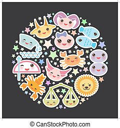 Funny Kawaii zodiac sign, astrological stiker set  virgo, aries, gemini, cancer, aquarius, taurus, leo, libra, sagittarius,  fish, capricorn, scorpio black Background. Vector