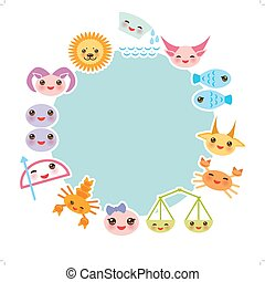 Funny Kawaii zodiac sign, light blue round frame, astrological set  virgo, aries, gemini, cancer, aquarius, taurus, leo, libra, sagittarius,  fish, capricorn, scorpio. Vector