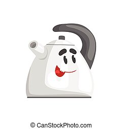 Funny kettle character with smiling face, humanized home electrical equipment vector Illustration