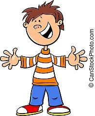 funny kid boy character cartoon illustration