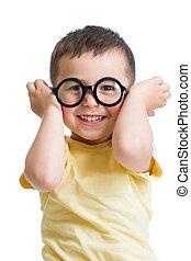 funny kid boy wearing glasses