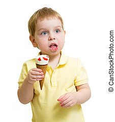 funny kid eating ice cream isolated on white