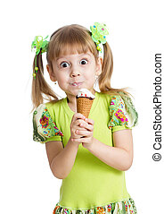 funny kid girl eating ice cream in studio isolated