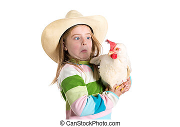 Funny kid girl expression surprised gesture scared of hen