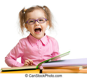 Funny kid girl in glasses with books speaking something ...