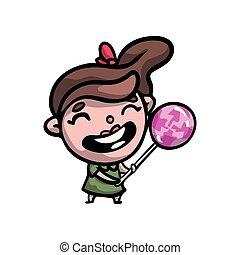 Funny kid girl in green dress with big swirl lollipop