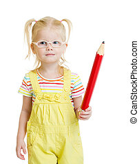 Funny kid in eyeglases reading book isolated